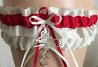 Ivory and Red Garter Set Wedding Prom INCLUDES Tossing Garter & Charm