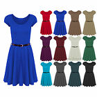 Womens Belted Cap Sleeves Flared Franki Ladies Swing Skater Dress Top Plus 8-26
