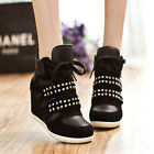 Womens PUNK rivet Velcro Strap High-TOP Sneakers Shoes/Ladys Ankle Wedge Boots