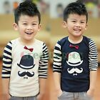 Fashion Kids Toddlers Boys Girls Striped Bow-knot Mustache Cotton Tops T-Shirt