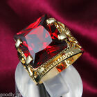 Size 6-9 Noble Design Band 18K Gold Filled Red Sapphire Lady Women Wedding Ring