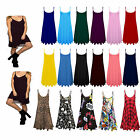 New Women's Summer Strappy Sleeveless Plain Cami Swing Mini Dress Top Sizes 8-26