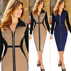 New Ladies Zipper Slim Bodycon Bandage Midi Dress Cocktail Party Dress