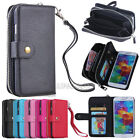 PU Leather Wristlet Clutch Wallet Card Slots Case For Samsung Galaxy S & Note