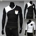 New Mens Stylish Slim Fit Long Sleeve Casual Polo Shirt T-shirts Fashion 4 Sizes