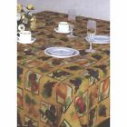 Printed Fabric Tablecloth Apples Strawberries Grape Plum Pears Gold YOUR SIZE