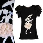 Womens 3D Pattern Short Puff Sleeve Pearls Crew Neck Tops Casual T-Shirt Blouse