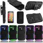 Film + Holster Belt Hybrid Hard Case Cover For Motorola Moto G Lte Xt1045 Xt1042