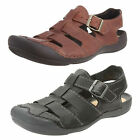Mens Clarks Wild Edge Black Or Ebony Leather Closed Toe Sandals G Fitting