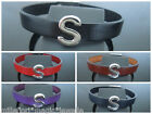"""Leather Wristband Bracelet With Initial """"S"""" Slide Charm ~ Choose Colour & Length"""