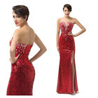 Long Sequins Prom Evening Party Cocktail Ball Gown Bridesmaid Dresses Size 8 10+