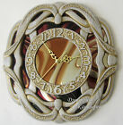 Wooden wall clock wood carving with mirrored stained glass home decor decoration