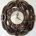 Wall clock carved wooden ornamental mirror glass beautiful original luxury watch