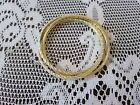 14K YELLOW GOLD CLAD OVER STERLING DIAMONIQUE ROLLING BANGLE BRACELETS NEW