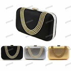 Metallic SILVER GOLD BLACK Synthetic Crystal Hard Case Clutch Evening Bag #20917