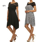 D71 Womens Black Cocktail Wedding Sping Party Evening Asymmetrical Dress Plus