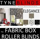 The FABRIC BOX  ELEGANCE made to measure ROLLER BLINDS straight edge black white