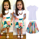 2PCS Cotton Kids Girls T-shirt Tops + Skirt Baby Clothes Outfits Skirt 1-7Years