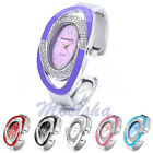 Vogue Lady Silver-tone Crystal Oval Quartz Watch Bangle Cuff Bracelet Wristwatch