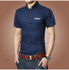 DT83 New Men's Summer Stylish Short Sleeve Casual Dress Slim Fit Shirts 3Colors