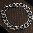 11mm Mens Curb Cuban Heavy Link Bracelet Polished Finish Stainless Steel 316L