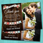 Wedding Day Thank you Cards & Envelopes Personalised *Vintage Bunting