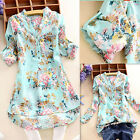 Elegant Womens V Neck Floral Tees Long Sleeve Top T Shirt Blouse UK 8-26/S-5XL