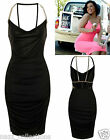 BLACK CUT OUT OPEN BACK COWL NECK SLINKY MIDI PARTY SUMMER DAY EVENING DRESS SML