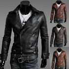 New Men's Men Motorcycle Rider Biker Zipper PU Leather Slim Fit Coat Jacket Top#