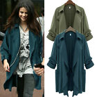 Women Chiffon Spring Autumn Lapel Parka Casual Long Trench Coat Jacket Overcoat