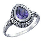STERLING SILVER PURPLE RING ANTIQUE LOOK (6X8 MM) IN SIZE 7 AND 9