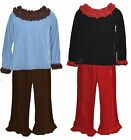 Greggy Girl Velour Pants Top Set Black Red Blue Ruffle Shirt Toddler Outfit NEW