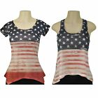 Women's American Flag T-Shirt Tank Top Stars Stripes Red/White/Blue