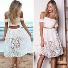 2015 New Fashion 2 piece Set Women lace beach Sexy Midi club Bodybon Party Dress