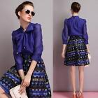 Womens Chiffon Shirts Bow Neck Puff 3/4 Sleeve Solid Shirt OL Casual Blouse Tops
