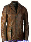 Mens Cognac Contrast Leather Car Coat Sz S-5XL Custom Made 12 Colors