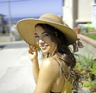 Women's Floppy Derby Straw Hat Large Wide Brim Sun Summer Beach Cap Hat