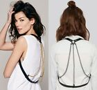 Women Harness Leather Tassel Cross Layered Punk Necklace Belly Waist Body Chains
