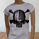 4th of July Independence day USA Flag Skulls Rebel Womens White T-Shirt