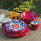 100% Melamine Dinnerware 16 PC Set BPA free Indoor Outdoor Use Plates Bowls RED