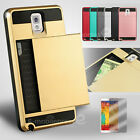 Card Pocket Slide ShockProof Slim Wallet case cover Samsung Galaxy Note 3 4 5 8