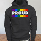 RAINBOW COLORS GAY PRIDE EQUAL RIGHTS Mens Charcoal Hoodie