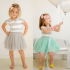 Age 2-7 Kids Girls Summer Dress Princess Party Striped Tutu Dress Skirts Clothes