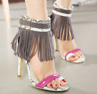 Womens Tassel High Heel Stiletto Roma Clip Toe Gladiator Rivet Sandal Roma Shoes