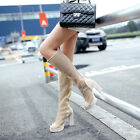 Womens High Heels Hollow Out Mid-calf Knee High Summer Boots Peep Toe Sandals
