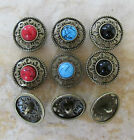 5 - Novelty Buttons - round w/Inlay - Metal w/Shank - bonze - Knitting/Sewing