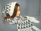 FAT FACE Ladies Wool Blend Pattern Scarf & Beanie Hat GREY CREAM  170 x 25cm NEW