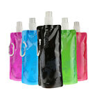 1/5x Outdoor Portable Folding Plastic Collapsible with Buckle Water Bottle FKS