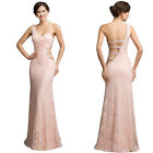PLUS + Vintage Lace Evening Formal Party Ball Gown Prom Wedding Bridesmaid Dress