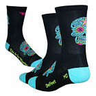 DeFeet Aireator Sugarskull Tall Socks - Black/Turquoise - Cycling Clothing